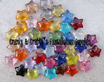 Star  Beads  Large Faceted - 22mm x 28mm -  Chunky Necklaces - Set of 10 - Mixed pairs