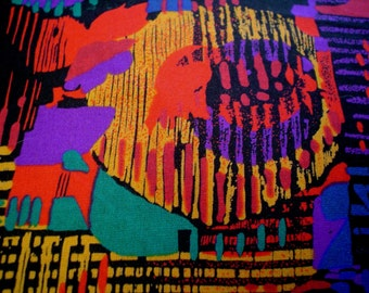 """80s 44"""" W x 3.4 yds Rayon Burlington Prints Fabric Purple Red Teal New Wave Abstract Pattern"""