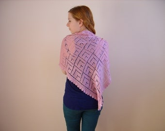 knitted shawl pink scarf