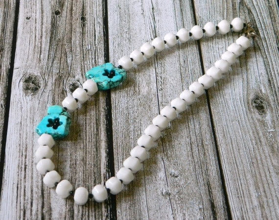 White beaded necklace, gemstone necklace with white lantern jade beads, black onyx beads, howlite beads, Mother's day.