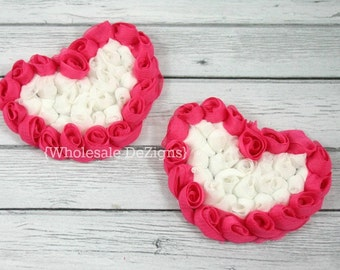 "Hot Pink and White Chiffon Rosette Hearts - 3.5"" Valentines Heart (2)"