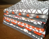 Lunchbox Napkins, Set of 12, Eco Friendly, Shades of Orange and Grey, by CHOW with ME
