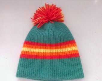 80s vintage men's medium winter pom pom hat, green orange and yellow stripes