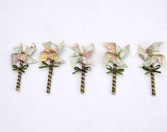 Vintage Atlas paper windmill pinwheel buttonhole