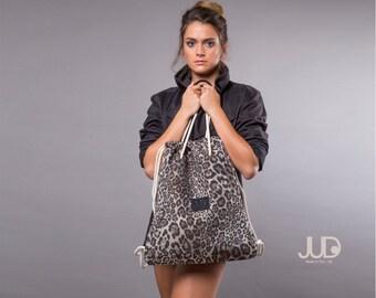 Gray backpack purse - multi sack bag  SALE - leopard tote bag- women rucksack- backpacks- gift for her- women fashion backpack bag