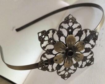 2pcs 52x52mm Floral headband  Antique Bronze Filigree metal Headband
