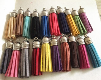 30pieces Assorted Colors 40mm Suede Leather Tassel With  plastic Cap