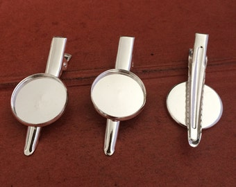 20pcs Silver Tone Brooch Back Base With Clip and Safety Pin 18mm