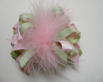 Lemon Grass Green Pink Over the Top Princess Hair Bow Marabou Springtime Easter Birthday Party