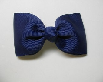 You Pick Color Navy Blue Simple Tuxedo Style School Uniform Hair Bow Traditional Classic Basic