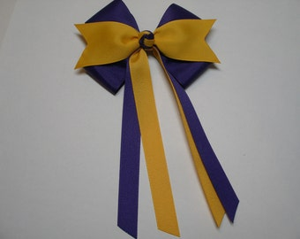 LSU Yellow Gold and Purple Grape Hair Bow School Team Uniform Cheer Preppy Streamers Tails