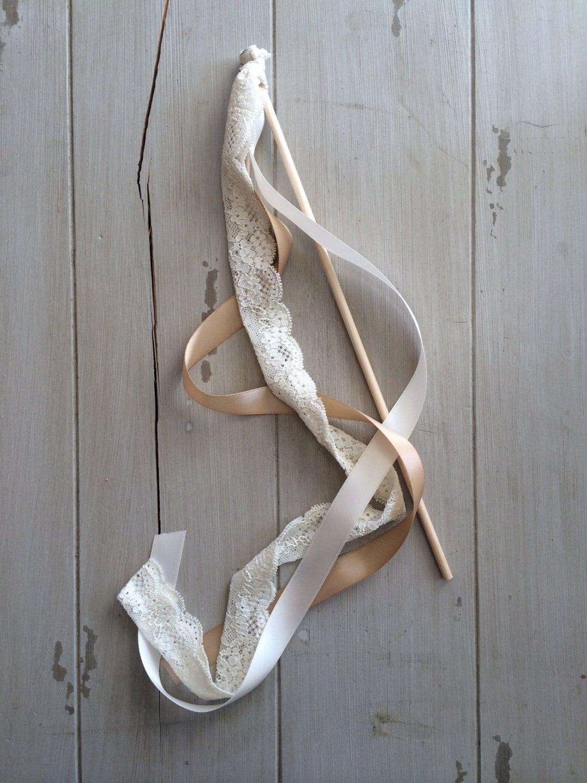 Wedding ribbon wands or streamer birthday party rustic barn for Wedding wands