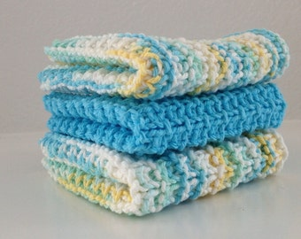 Hand Knit Cotton Dish Cloths Set of 3