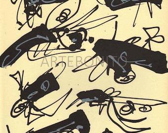 "Antonio Saura Original Lithograph "" N6-4"" printed by Maeght, France 1988"
