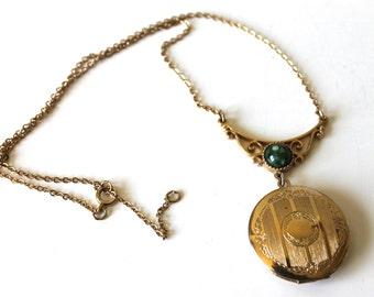 Vintage Gold Locket, Green Stone, Gold Tone, Designer Sarah Coventry, Circa 1960's