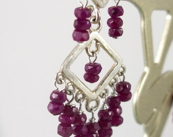 Ruby and Sterling Chandelier Earrings by KarenWhalenDesigns