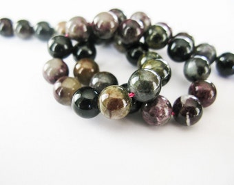 Tourmaline Rounds, Rondelles, Smooth, 7.5mm, aaagems, Half Strand, 8 Inches