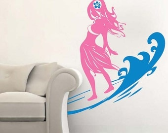 Surfer Chick Wall Decal With Wave - Surfing Wall Decal - Removable Beach Wall Decals - Hawaiian Wall Decal Stickers - Surfing Decals, s09
