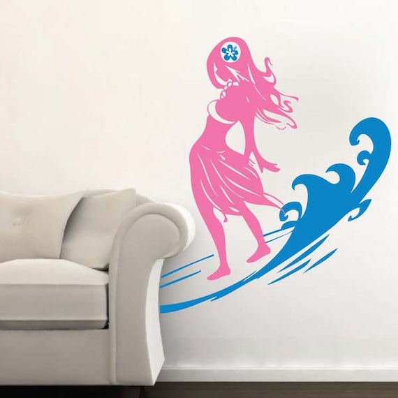 Surfer Girl Beach Wall Decal by TrendyWallDecals