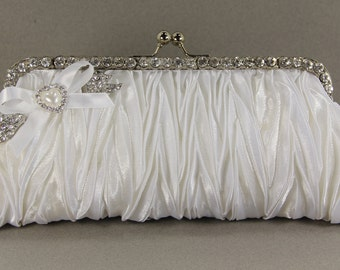 White Satin Bridal Clutch with Swarovski Crystal Brooch and a Lovely Pearl Handle That Can Also Be Worn As A Necklace
