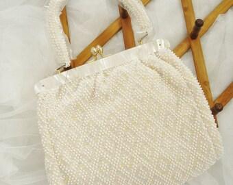 Vintage White with Pastel Popcorn Bead Handbag Purse Satchel Never Used