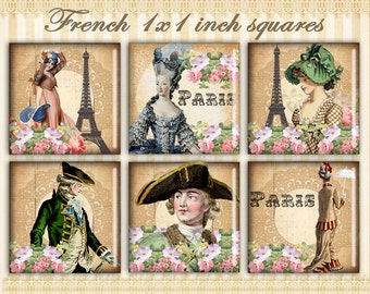 French Paris squares 1x1 inch Digital collage sheet Vintage images Digital squares for Jewelry pendants Paper craft - FRENCH SQUARES
