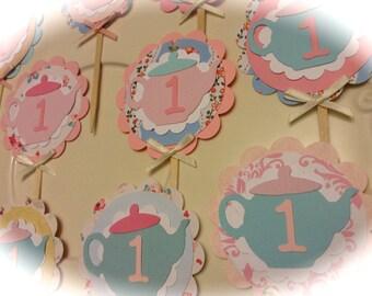 Tea Party Tea pot Tea cup CUPCAKE toppers 1st birthday tea party