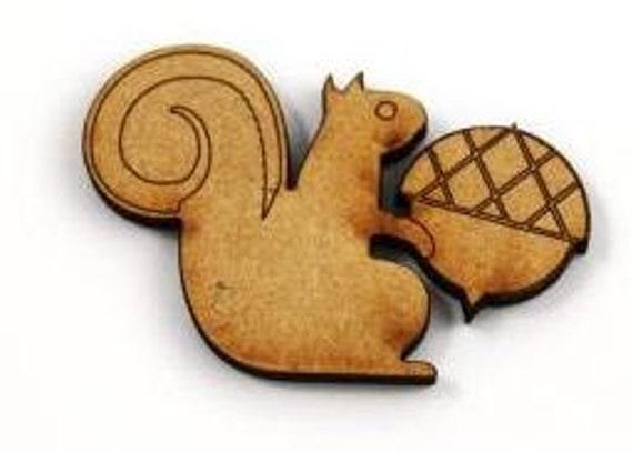 2 Craft Wood Squirrel sitting with Acorn, Scrap booking, 50 mm wide, laser cut wood