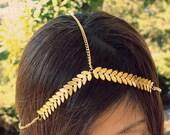 Gold Chain Headpiece, Chain Headband, Bohemian, Vintage