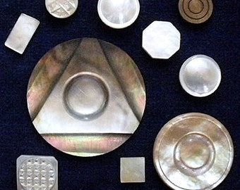 Pearl pieces to use, antique & vintage,10 pieces, 9 different cut pearl, circular, square, oblong, octagonal. c late 18th cent. to c1930's.