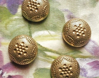 Metal buttons, a set of 4, antique, half round in shape, a six point dimpled design, convex, German buttons, 19th. century.