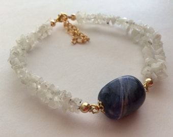 Moonstone Chips and Swirly Blue Stone Bracelet.