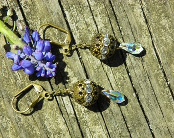 Antique brass and crystal dangle earrings