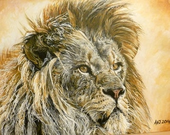 Majesty, Lion blank Fine Art card with envelope and plastic sleeve taken from my original painting-greeting card, special card, Big cats art