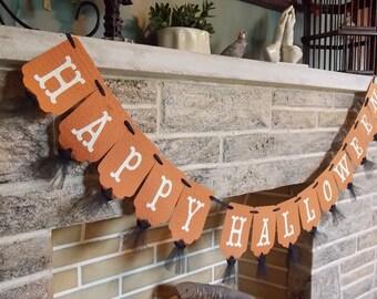 Happy Halloween Banner, Cream Orange and Black Banner, Halloween Decoration, Halloween Sign, Halloween Party Decoration, Trick or Treat