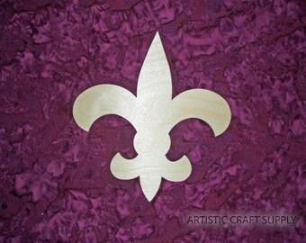 """Fleur De Lis Wood Cut Out 1/4"""" Inch Unfinished Wooden Paintable 6 x 6.5 inch"""