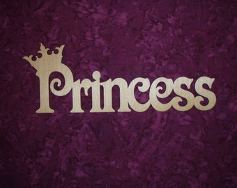 """Princess With Crown Word Cut Out Unfinished Wood  Connected Wooden Letters 4.5"""" X 13.5"""""""