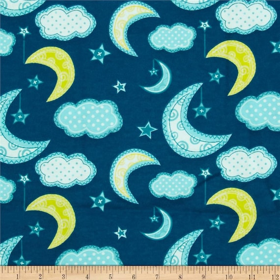 Night sky flannel fabric sky moon stars clouds camelot for Fabric with moons and stars