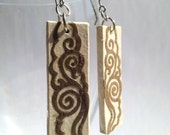 Ivory Brown Hanji Paper Dangle Earrings Cloud Swirls Design Hypoallergenic hooks Lightweight Ear rings