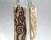 Ivory Brown Hanji Paper Dangle Earrings Cloud Swirls Design Hypoallergenic hooks Lightweight Ear rings