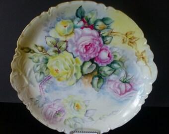 Vintage Haviland Rose Cake Plate artist signed