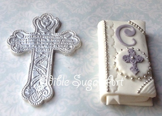 Items similar to first holy communion cake topper cross bible baptism christening fondant - Holy communion cake decorations ...