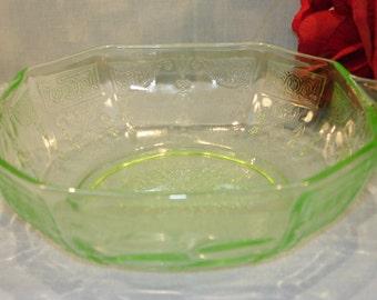 Princess Green Depression Glass Cereal Bowl