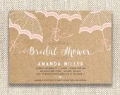 Printed / Lace Umbrella / Kraft Background / Bridal Shower Invitation