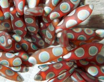 Matte Orange Dagger Beads - 5x15mm - Czech Glass Beads - 50 beads - 1487