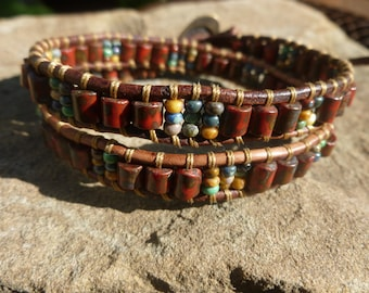 2X Wrap Bracelet with Red Picasso Tiles and 8/0 Picasso Seed Beads