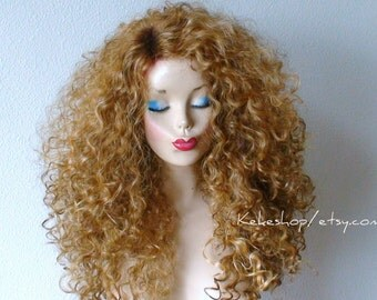 Ombre wig. Golden blonde / Dirty blonde Ombre Dark roots wig long heavy curly blonde wig. Celebrity hairstyle  wig.