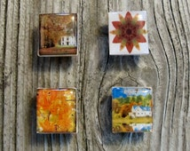 Fall leaves Scrabble magnets Autumn gift ideas home decor modern repurposed