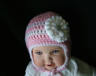 Pink striped Baby Crochet Hat   with earflaps and crystal centered flower made in soft acrylic yarn