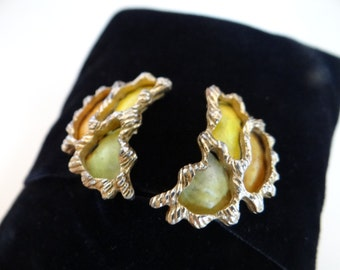 Unique Coro Yellow and Green Abstract Clip Earrings on a Gold Tone Setting